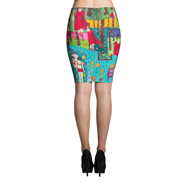 Colorful unique pencil skirt - vivid and garish summer clothes by Somejam - Little Red - Pencil Skirt
