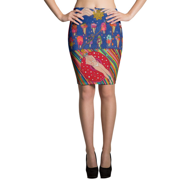 Colorful unique pencil skirt - vivid and garish summer clothes by Somejam - Don't be afraid of melting - Pencil Skirt