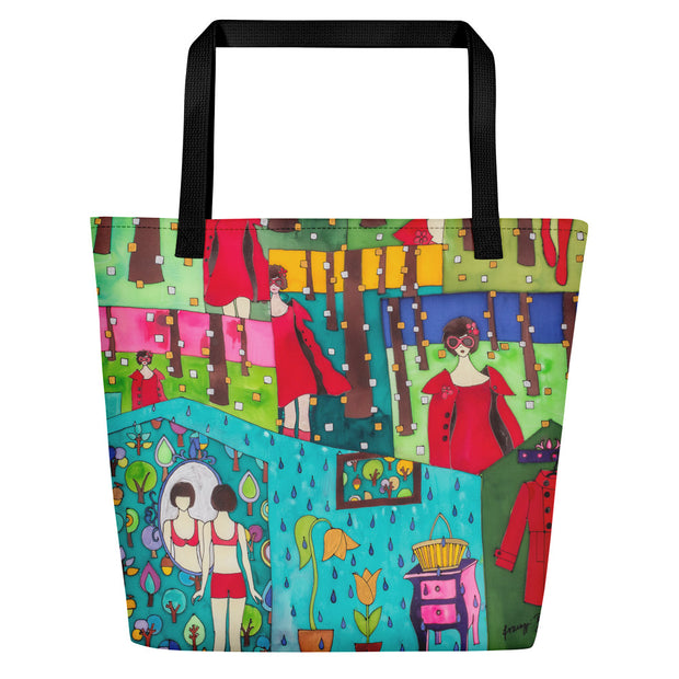 Vivid unique beach bag - colorful and flashy beachwear by Somejam - Little Red - Beach Bag
