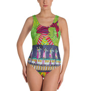 Vivid one-piece swimsuit - colorful and unique beachwear by Somejam - Asimmetry in Simmetry - Swimsuit