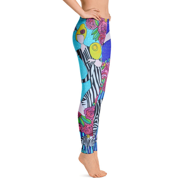 Bold and vivid leggings - colorful and garish yoga pants by Somejam - I wish I was a Zebra - Basic Legging