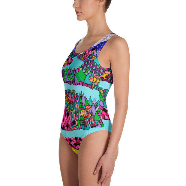 Vivid one-piece swimsuit - colorful and unique beachwear by Somejam - The big IT - Swimsuit