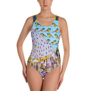Vivid one-piece swimsuit - colorful and unique beachwear by Somejam - Inspired by Klimt Beethoven Frieze - Swimsuit