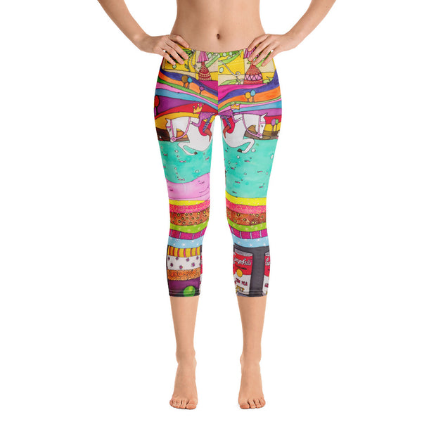 Vivid and bold leggings - colorful and striking summer clothes by Somejam - The Princess and the Pea - Capri Legging