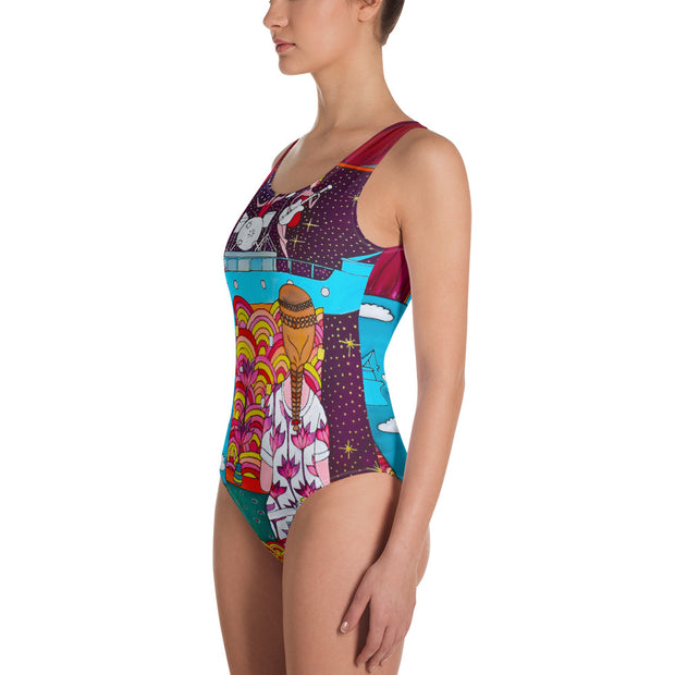 Vivid one-piece swimsuit - colorful and unique beachwear by Somejam - Fatally sweet - Swimsuit