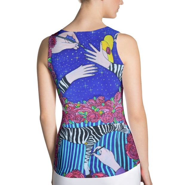 Bold and colorful tank top - striking and garish women shirts by Somejam - I wish I was a Zebra - Tank Top