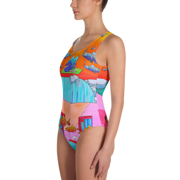 Vivid one-piece swimsuit - colorful and unique beachwear by Somejam - What's being and what seems to be - Swimsuit