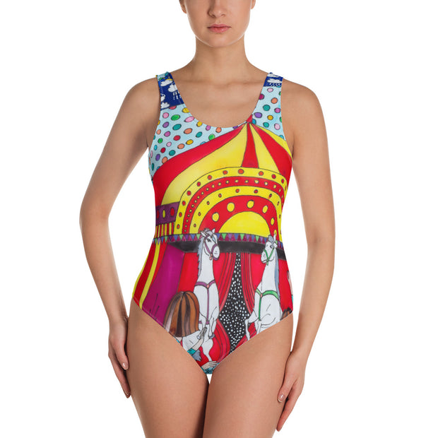 Vivid one-piece swimsuit - colorful and unique beachwear by Somejam - The circus has surrendered - Swimsuit