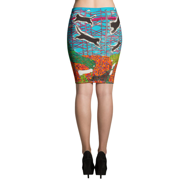 Colorful unique pencil skirt - vivid and garish summer clothes by Somejam - She builds scaffolding in front of nothing - Pencil Skirt