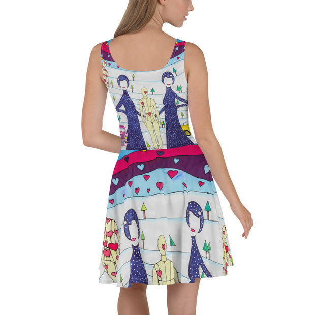 Bold and vivid Summer Dress - colorful and garish summer clothes by Somejam - To all my lovers - Skater Dress
