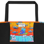 Vivid unique beach bag - colorful and flashy beachwear by Somejam - What's being and what seems to be - Beach Bag