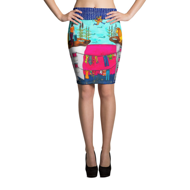 Colorful unique pencil skirt - vivid and garish summer clothes by Somejam - Make the Fool jump instead of me - Pencil Skirt