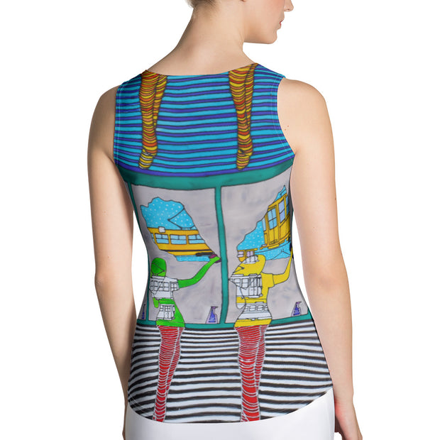 Bold and colorful tank top - striking and garish women shirts by Somejam - Washing the window, clearing my eyes - Tank Top