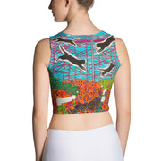 Colorful and bold crop top - striking and flashy women shirts by Somejam - She builds scaffolding in front of nothing - Crop Top