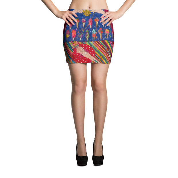 Colorful striking mini skirt - vivid and garish summer clothes by Somejam - Don't be afraid of melting - Mini Skirt