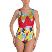 Vivid one-piece swimsuit - colorful and unique beachwear by Somejam - December love - Swimsuit