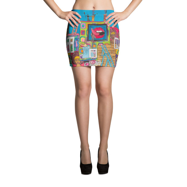 Colorful striking mini skirt - vivid and garish summer clothes by Somejam - Smoke from my chimneys in the middle of the summer - Mini Skirt