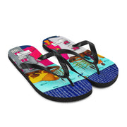 Colorful unique flip-flops - vivid and bold beachwear by Somejam - Make the Fool jump instead of me - Flip-Flops
