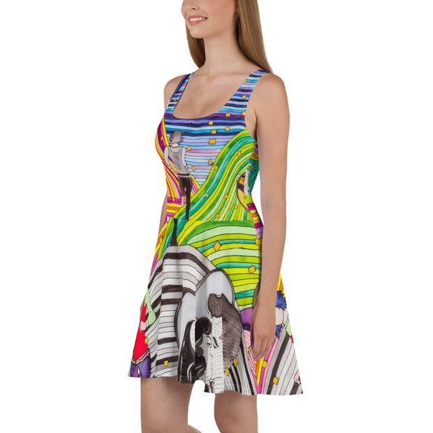 Bold and vivid Summer Dress - colorful and garish summer clothes by Somejam - Hare and Hounds - Skater Dress