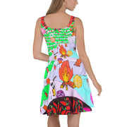 Bold and vivid Summer Dress - colorful and garish summer clothes by Somejam - Black is beautiful - Skater Dress