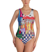 Vivid one-piece swimsuit - colorful and unique beachwear by Somejam - Self-portrait 2011 - Swimsuit