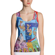 Bold and colorful tank top - striking and garish women shirts by Somejam - Don't jump - Tank Top