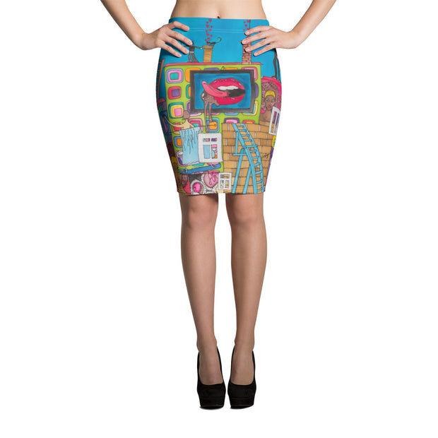Colorful unique pencil skirt - vivid and garish summer clothes by Somejam - Smoke from my chimneys in the middle of the summer - Pencil Skirt