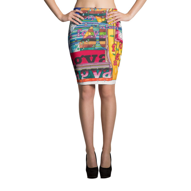 Colorful unique pencil skirt - vivid and garish summer clothes by Somejam - Bed of the river - Pencil Skirt