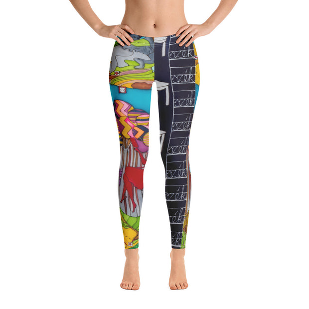 Bold and vivid leggings - colorful and garish yoga pants by Somejam - My chair is beyond the margins - Basic Legging