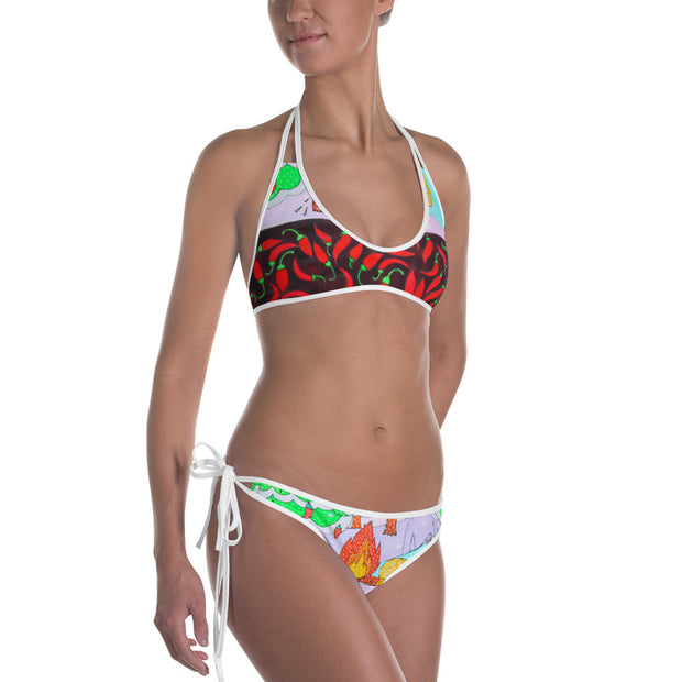 Unique and reversible bikini - colorful and vivid beachwear by Somejam - Black is beautiful - Bikini