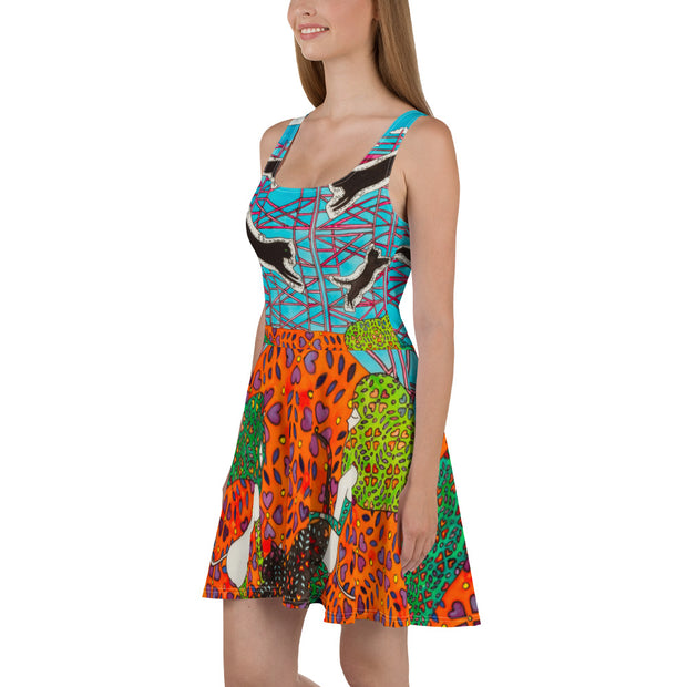 Bold and vivid Summer Dress - colorful and garish summer clothes by Somejam - She builds scaffolding in front of nothing - Skater Dress