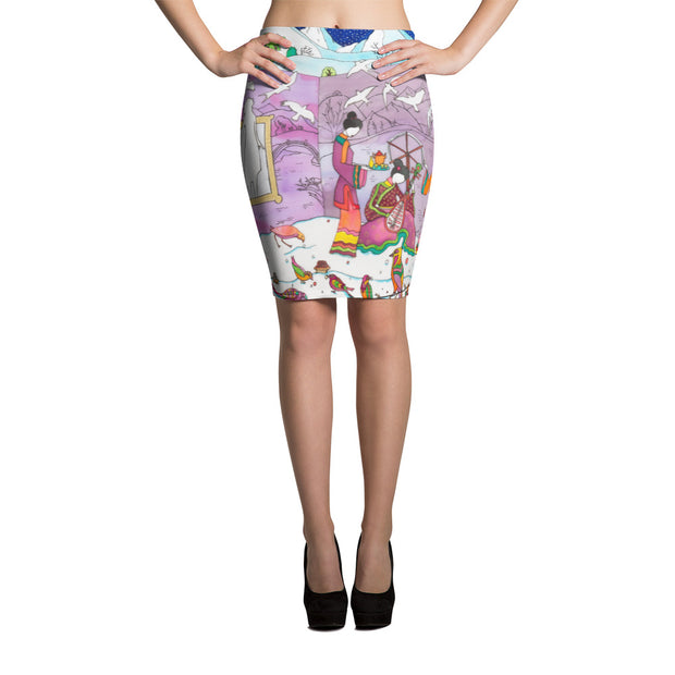 Colorful unique pencil skirt - vivid and garish summer clothes by Somejam - Show me your sorrow - Pencil Skirt