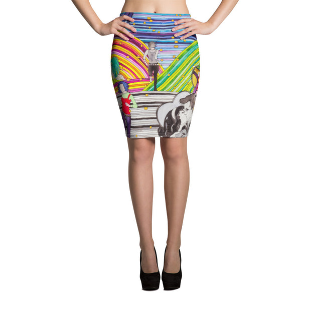 Colorful unique pencil skirt - vivid and garish summer clothes by Somejam - Hare and Hounds - Pencil Skirt