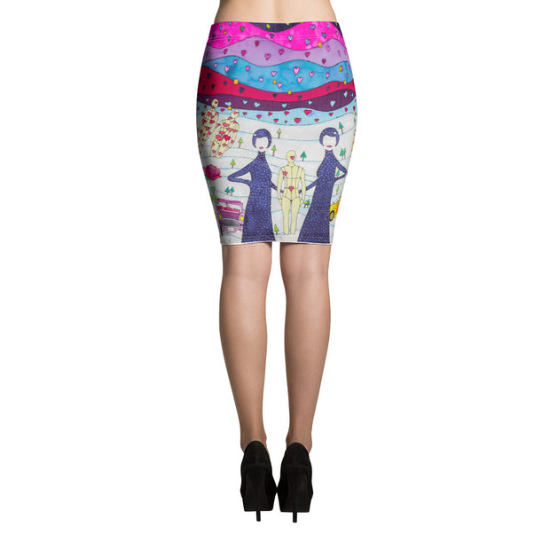 Colorful unique pencil skirt - vivid and garish summer clothes by Somejam - To all my lovers - Pencil Skirt