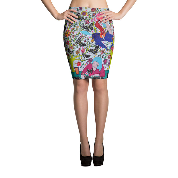 Colorful unique pencil skirt - vivid and garish summer clothes by Somejam - I had to wait for my rider - Pencil Skirt