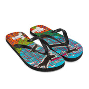 Colorful unique flip-flops - vivid and bold beachwear by Somejam - She builds scaffolding in front of nothing - Flip-Flops