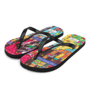 Colorful unique flip-flops - vivid and bold beachwear by Somejam - How did this dance get into my pantry? - Flip-Flops