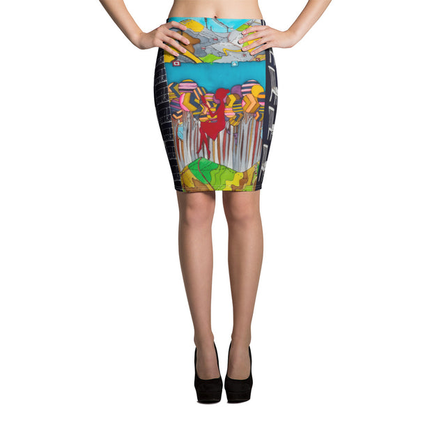 Colorful unique pencil skirt - vivid and garish summer clothes by Somejam - My chair is beyond the margins - Pencil Skirt