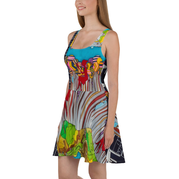 Bold and vivid Summer Dress - colorful and garish summer clothes by Somejam - My chair is beyond the margins - Skater Dress