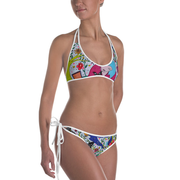 Unique and reversible bikini - colorful and vivid beachwear by Somejam - I had to wait for my rider - Bikini