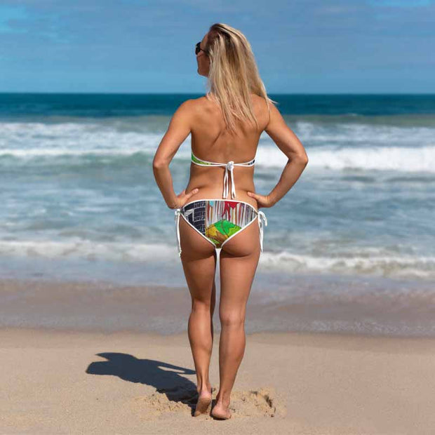 Unique and reversible bikini - colorful and vivid beachwear by Somejam - My chair is beyond the margins - Bikini
