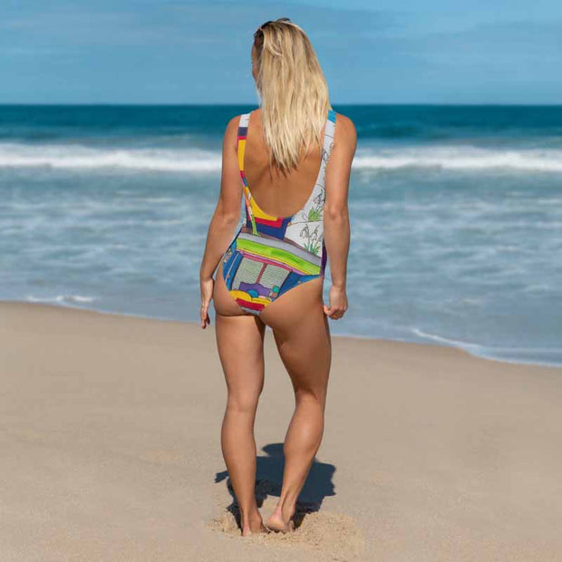 Vivid one-piece swimsuit - colorful and unique beachwear by Somejam - What do you see on the picture? - Swimsuit