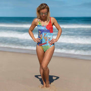 Vivid one-piece swimsuit - colorful and unique beachwear by Somejam - Don't jump - Swimsuit