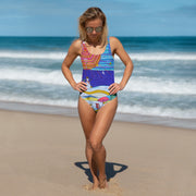 Vivid one-piece swimsuit - colorful and unique beachwear by Somejam - Make waves move mountains! - Swimsuit