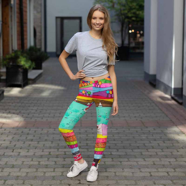 Bold and vivid leggings - colorful and garish yoga pants by Somejam - The Princess and the Pea - Basic Legging