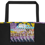 Vivid unique beach bag - colorful and flashy beachwear by Somejam - Inspired by Klimt Beethoven Frieze - Beach Bag