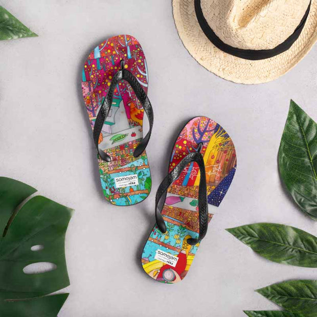 Colorful unique flip-flops - vivid and bold beachwear by Somejam - On a star – in a star - Flip-Flops