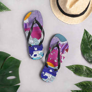 Colorful unique flip-flops - vivid and bold beachwear by Somejam - Pentecostal roller coaster - Flip-Flops