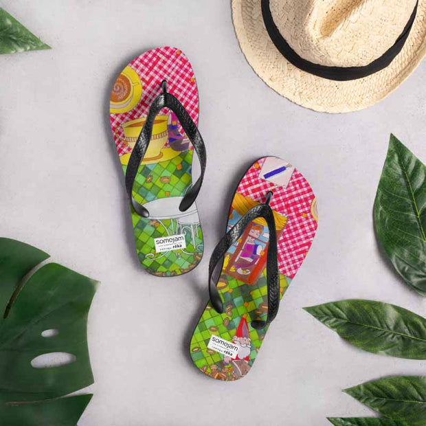 Colorful unique flip-flops - vivid and bold beachwear by Somejam - …is happiness - Flip-Flops