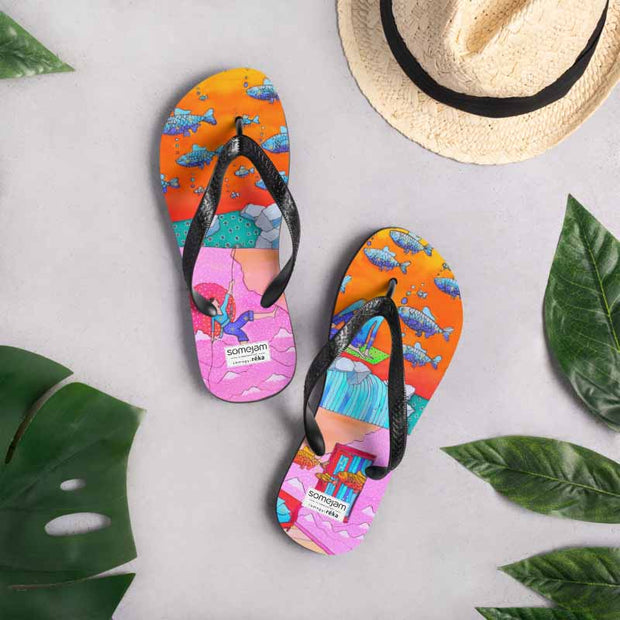 Colorful unique flip-flops - vivid and bold beachwear by Somejam - What's being and what seems to be - Flip-Flops